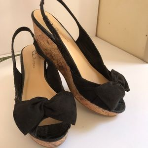 CL Laundry slingback cork wedge bowtie sandals